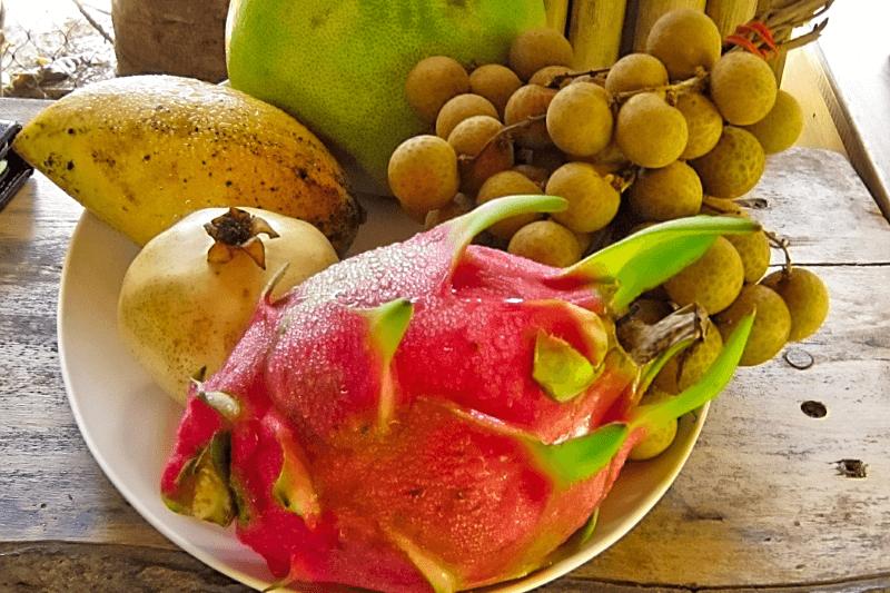 Bei einem Kochkurs in Thailand lernt man die heimischen Früchte kennen. Schale mit Tropischen Früchten.