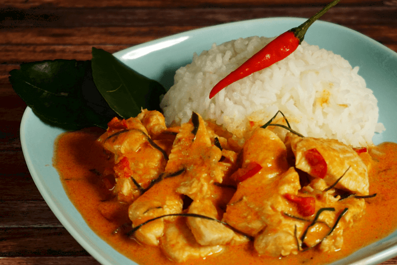 Leckeres Panang Curry mit Reis