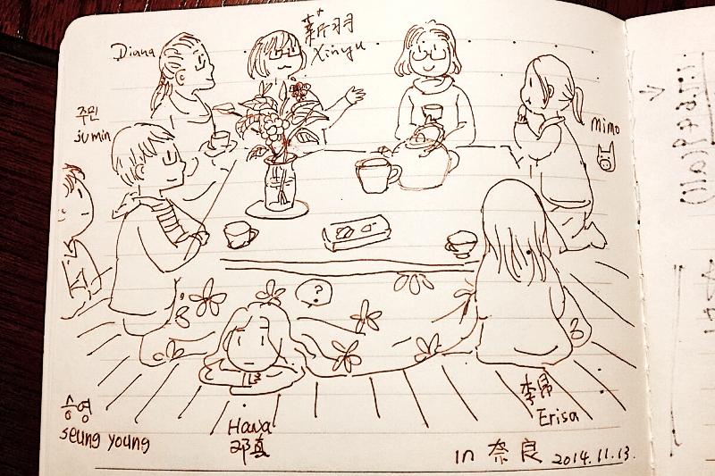 Skizze der japanischen Teezeremonie, die ich in Nara mitmachen durfte.